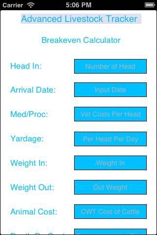 iPhone Breakeven App – Advanced Livestock Tracker